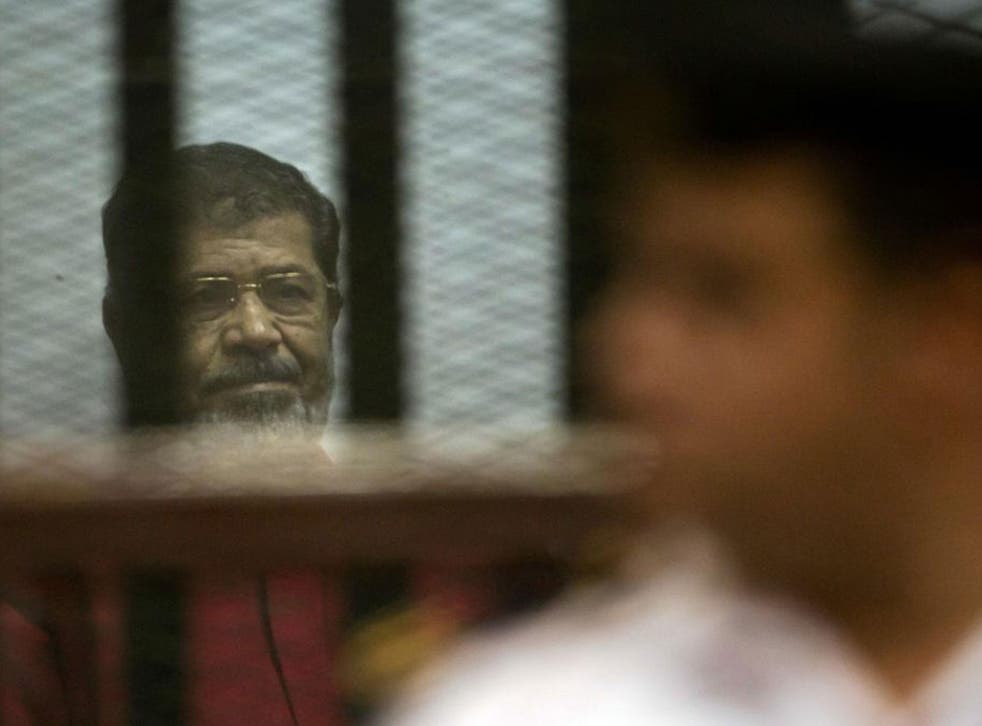 Former Egyptian President Mohammed Morsi in court in Egypt on 18 June 2016.