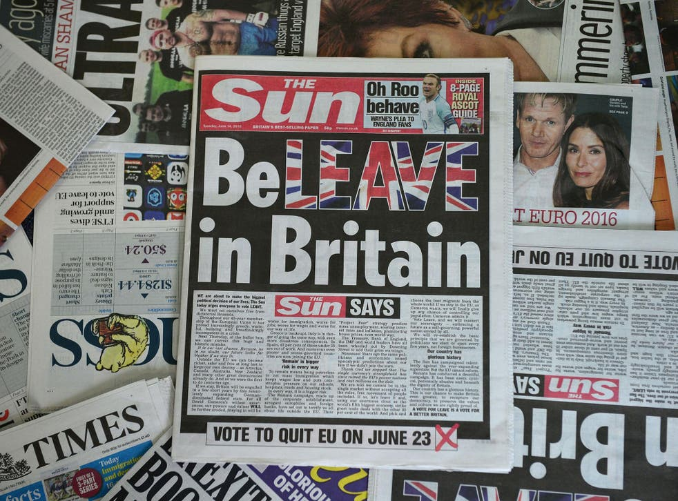 An arrangement of newspapers pictured in London on 14 June, 2016 shows the front page of the Sun daily newspaper with a headline urging readers to vote 'Leave' in the 23 June EU referendum
