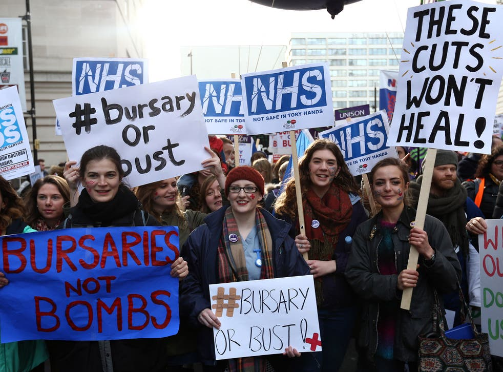 Nurses and midwives took the streets to protest the ending of training bursaries