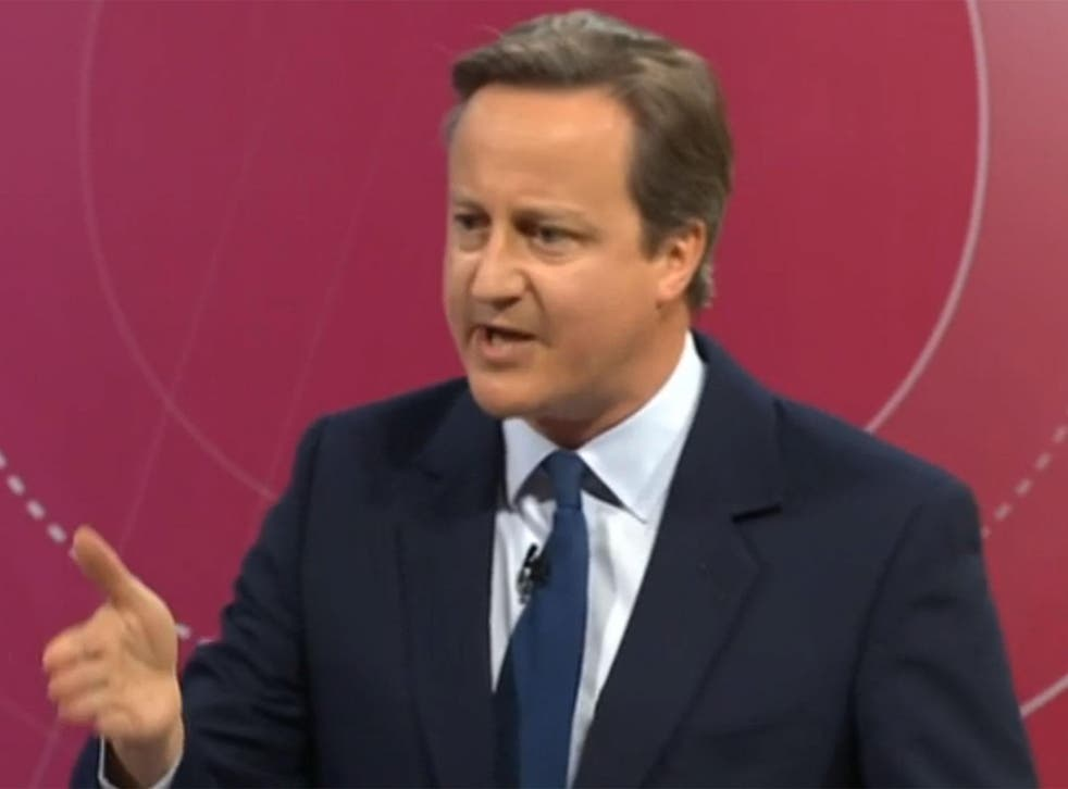 David Cameron speaking on BBC Question Time