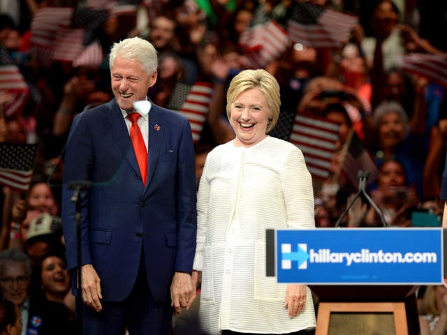 Hillary Clinton campaigning with husband Bill in Brooklyn, New York, earlier this month