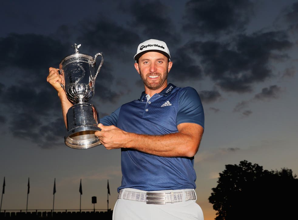 Dustin Johnson shows off his first major - the US Open - claimed on Sunday night at Oakmont