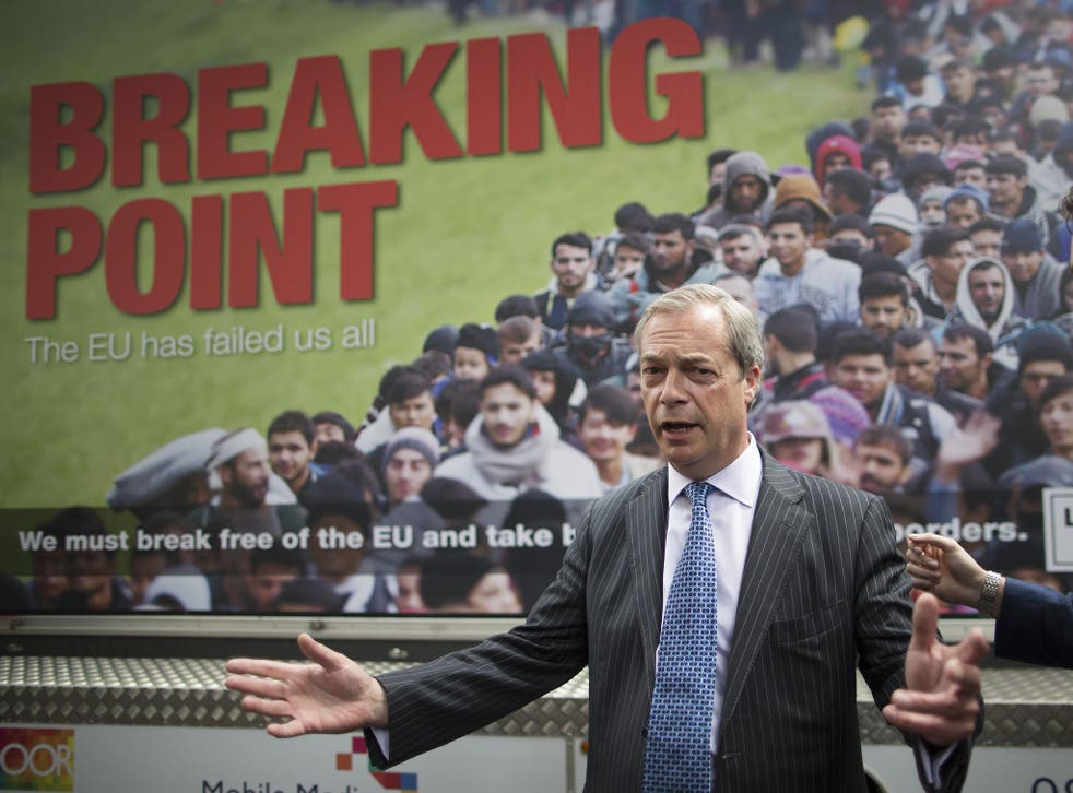 Nigel Farage in front of the controversial Leave.EU poster a week before the referendum