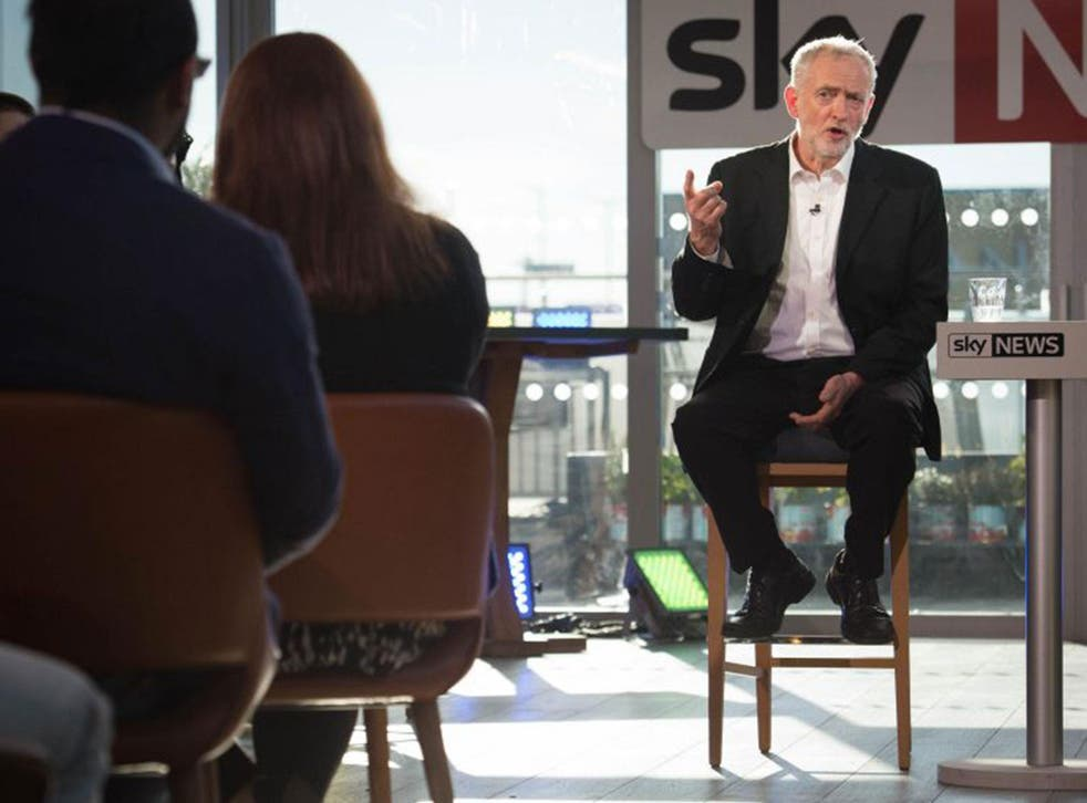 Jeremy Corbyn is interviewed by an audience of young people and Sky News Political Editor Faisal Islam Monday June 20