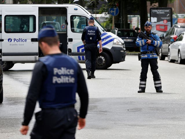Police in the Belgian capital stand guard during a previous security operation
