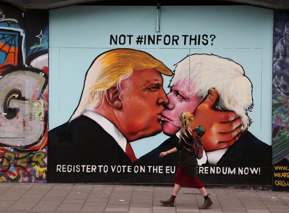The mural in Bristol showing Donald Trump and Boris Johnson