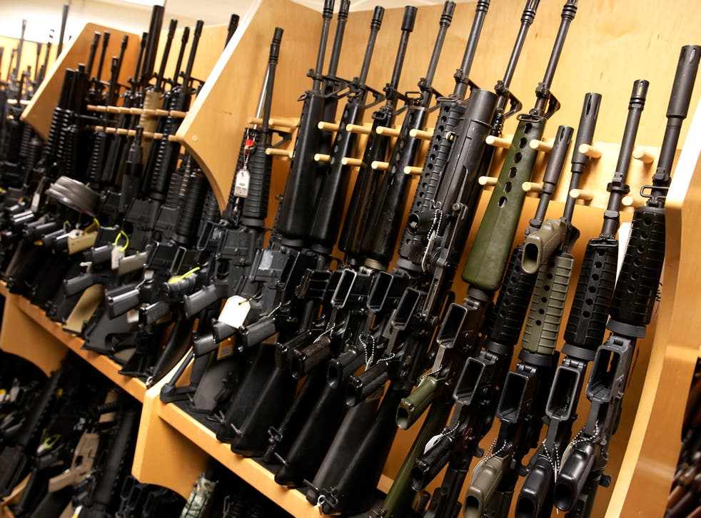 A display of AR-15 assault rifles, like the giveaway at the Illinois gun shop