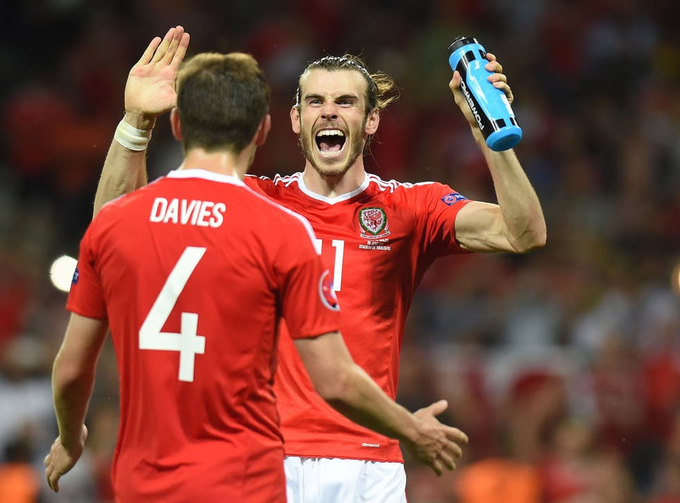Gareth Bale celebrates after Wales's 3-0 victory over Russia at Euro 2016