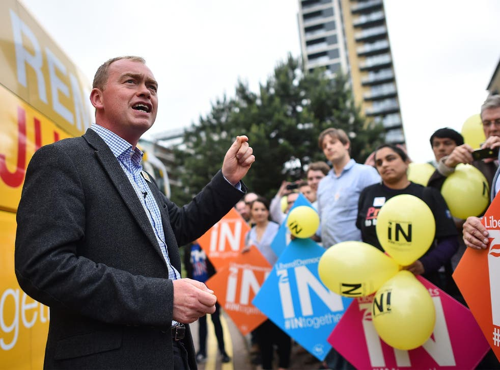 Lib Dem leader Tim Farron on the EU campaign trail