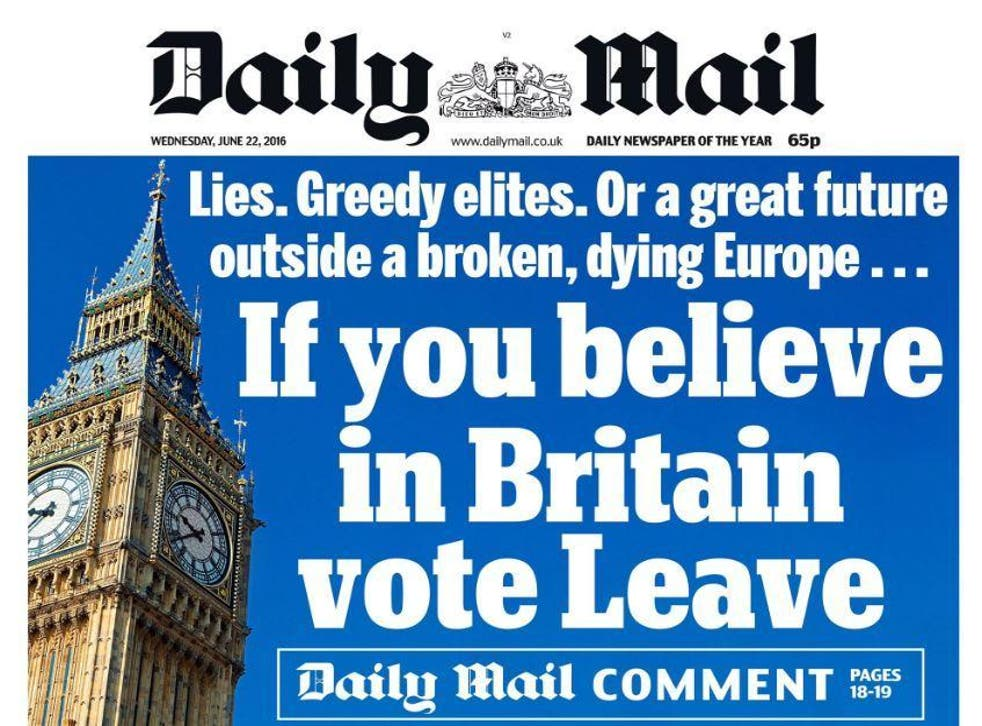 The Daily Mail came out for Brexit as its sister paper backed Remain