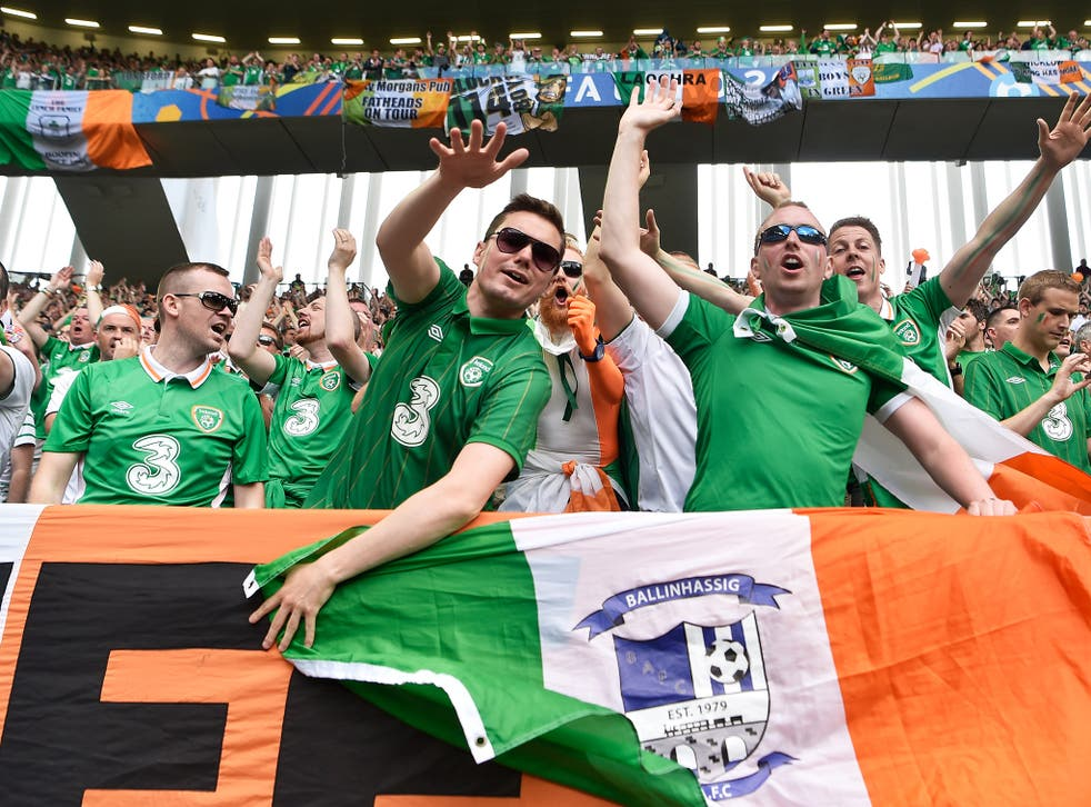 Ireland fans cheer on their side during the match against Germany