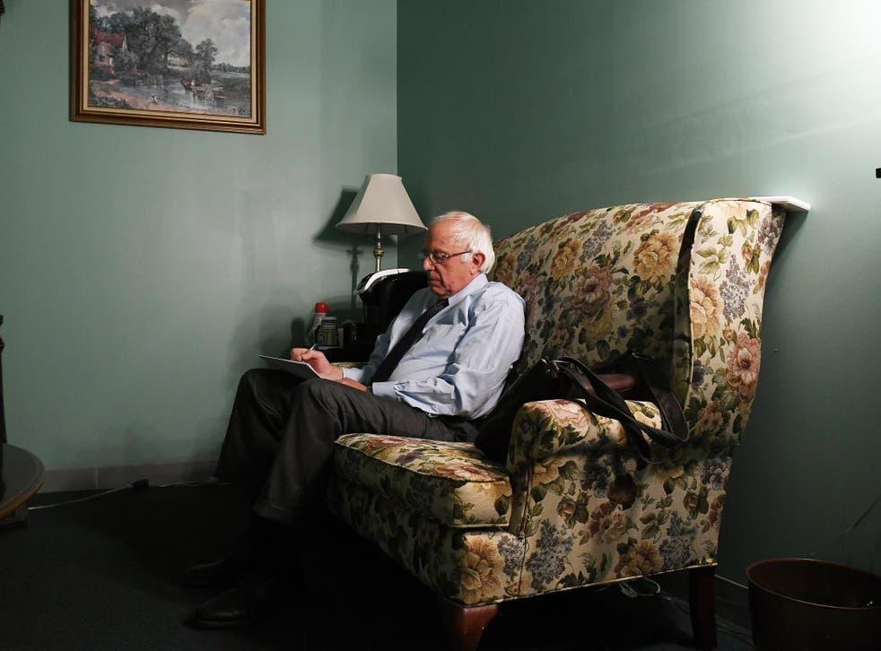 Sanders prepares to speak to voters in a televised speech on 16 June <em>Pool/Getty</em>