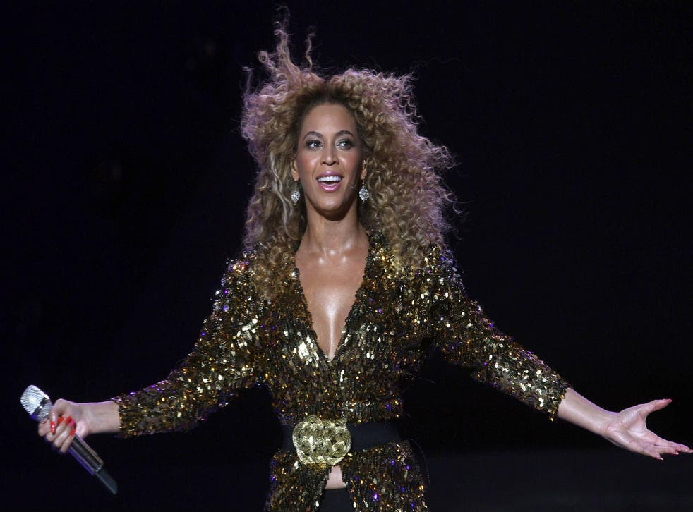 Beyonce performs on the Pyramid Stage at Glastonbury in 2011