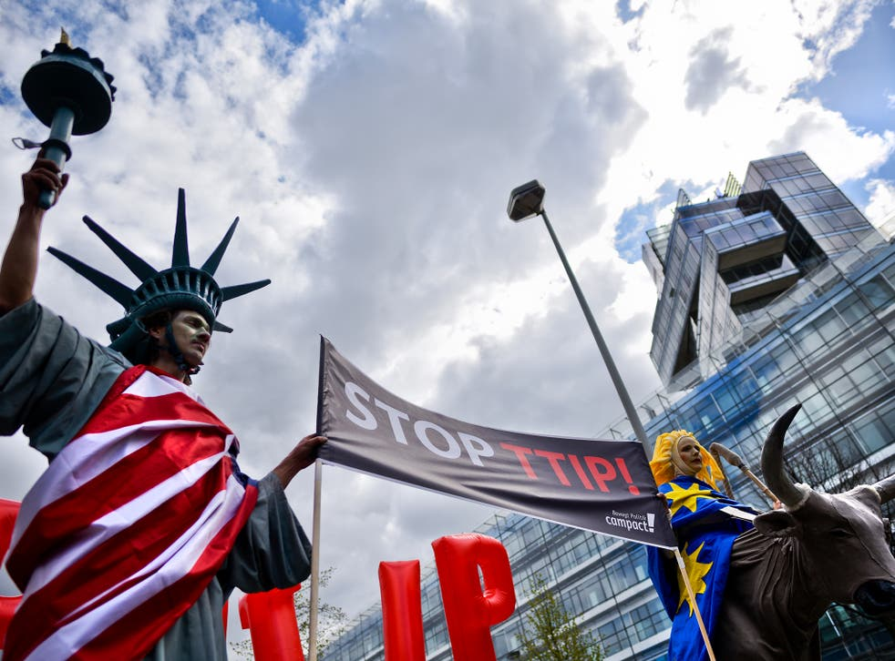 Protesters rally against TTIP during Barack Obama's visit to Germany in April 2016