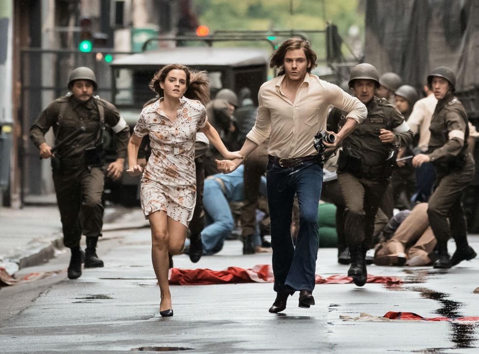 Emma Watson attempts to flee police with Daniel Bruhl in The Colony