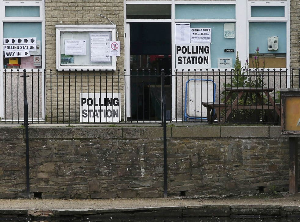 A polling station for the Referendum on the European Union in Etherow country park, Stockport