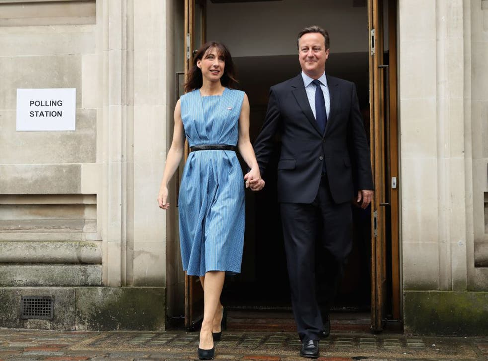 David Cameron and his wife Samantha leave after voting in the EU Referendum at Central Methodist Hall, Wesminster