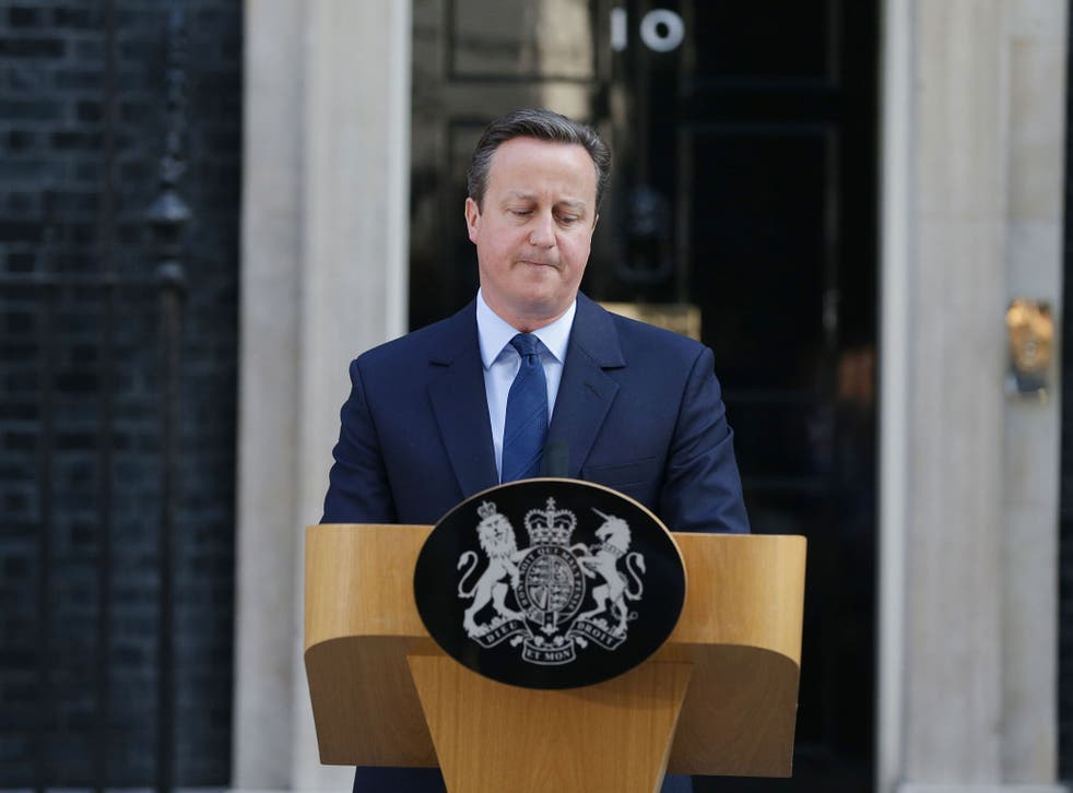 Prime Minister David Cameron resigns outside 10 Downing Street, London
