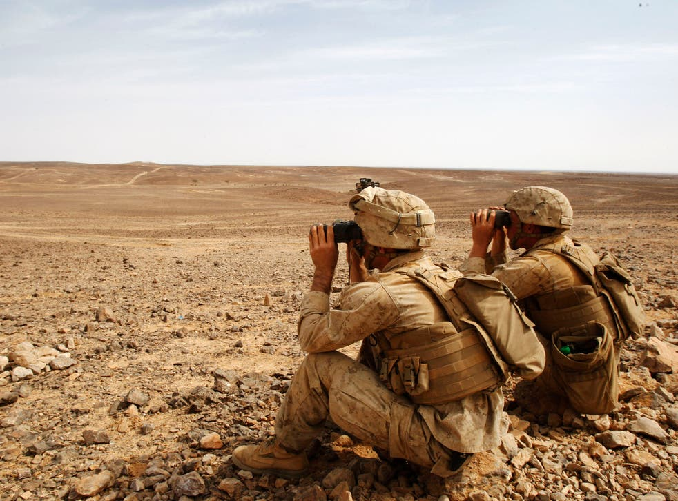 US soldiers carrying out an exercise in Jordan