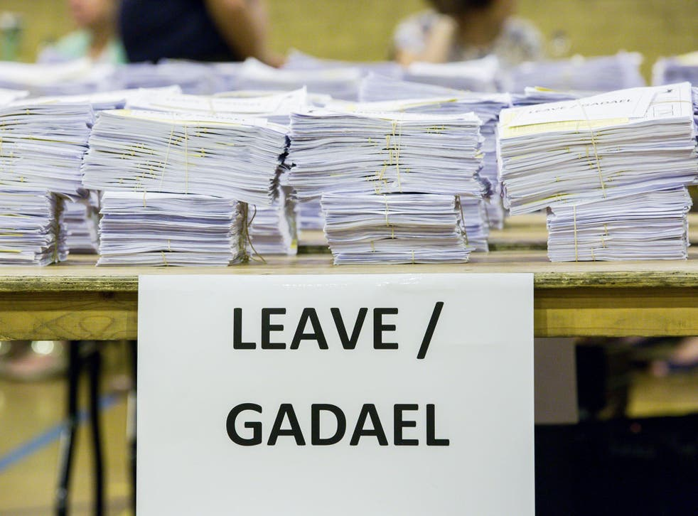 'Leave' votes piled up on the counting tables in Cardiff on referendum night