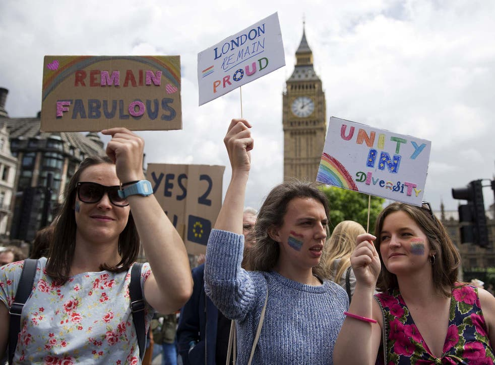 Young people, the vast majority of whom voted Remain, protest the referendum result on Saturday