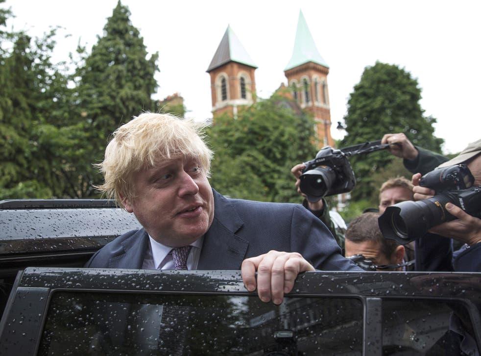 Former London Mayor Boris Johnson leaves his home by car on June 27