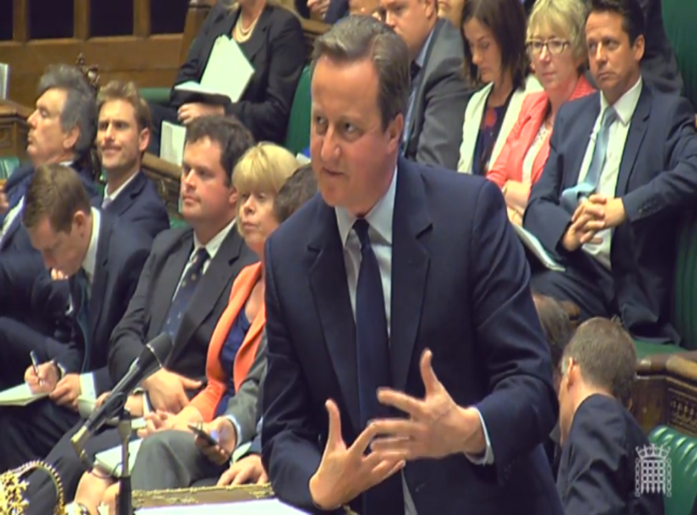 David Cameron delivering his statement on the EU referendum in the Commons today