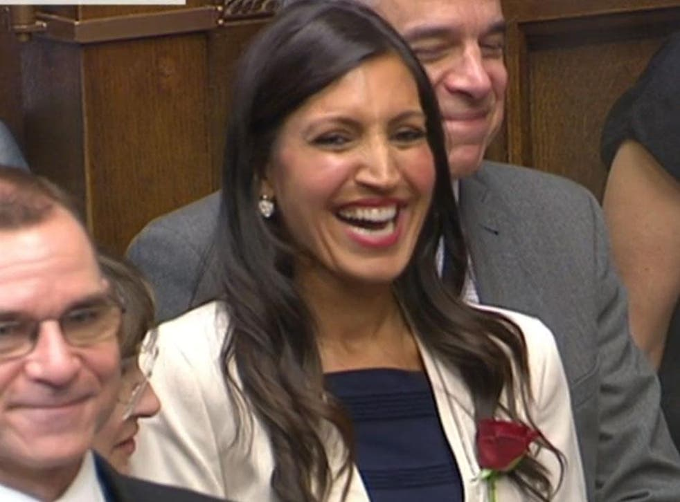 Dr Rosena Allin-Khan laughs as David Cameron jokes she could be a Shadow Cabinet minister by the end of her first day as an MP