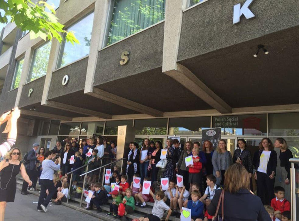 Children from a local west London primary school went to show their support to the Polish community centre after the xenophobic attack