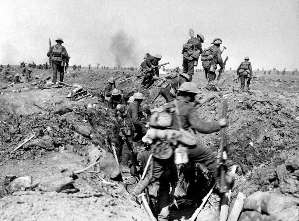 Troops of the British XIV Corps, advancing near Ginchy, during the Battle of Morval, part of the Somme Offensive