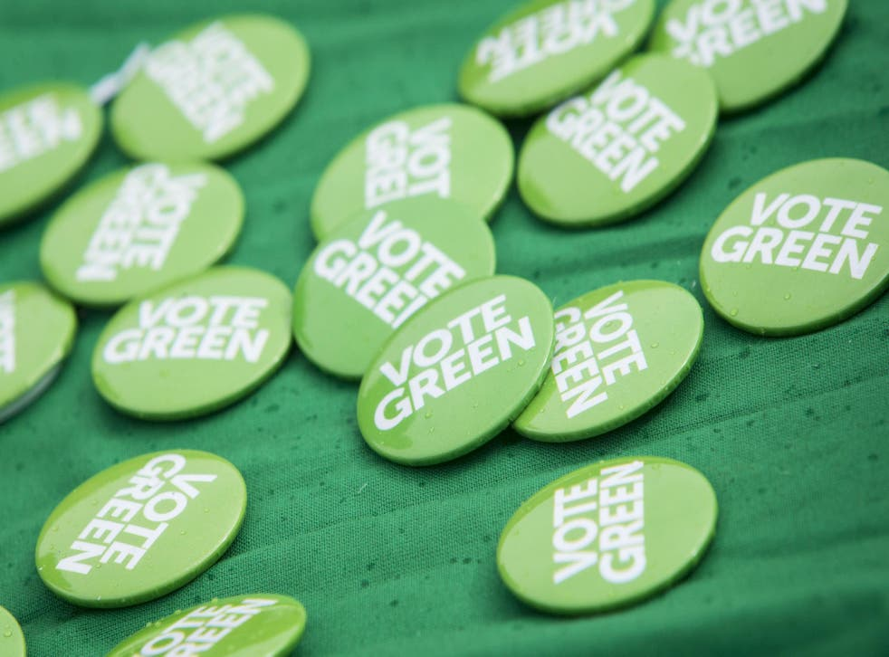 Green Party badges at the party's campaign launch for the 2016 elections