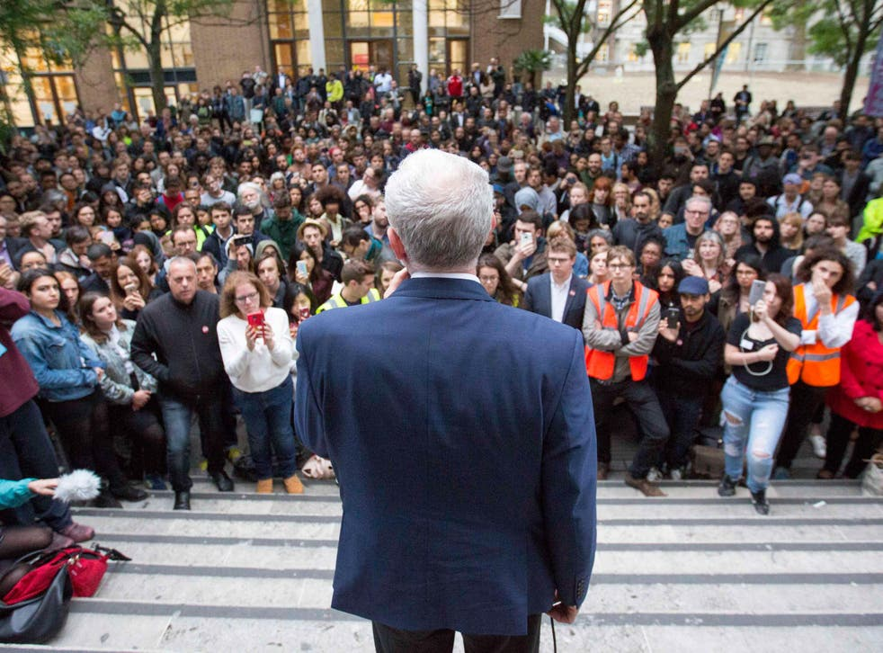 Labour leader Jeremy Corbyn speaking at a Momentum event at the School of Oriental and African Studies (SOAS) in central London.