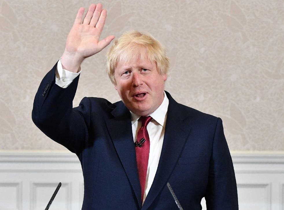 Brexit campaigner and former London mayor Boris Johnson prepares to leave after addressing a press conference in central London
