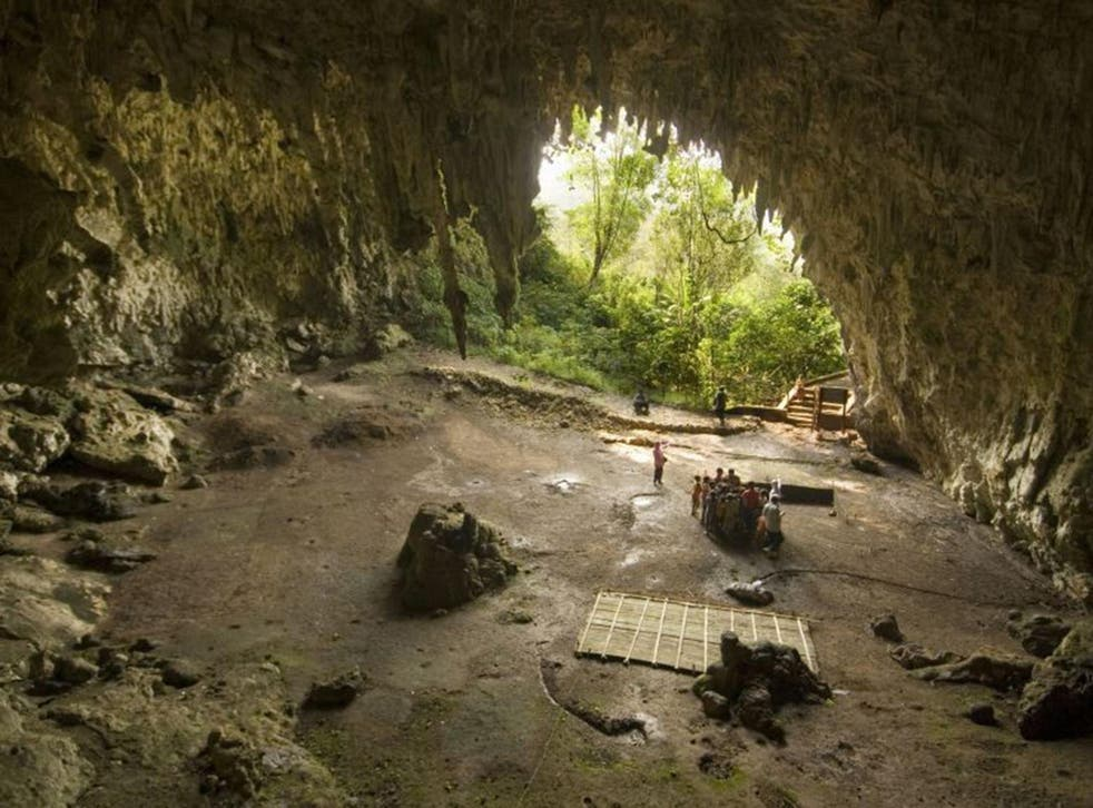 The cave in Flores, where scientists found evidence of both 'hobbit' and modern human occupation