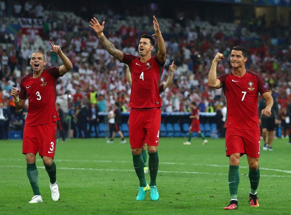 Portugal's Pepe, Jose Fonte and Cristiano Ronaldo celebrate following the penalty shootout