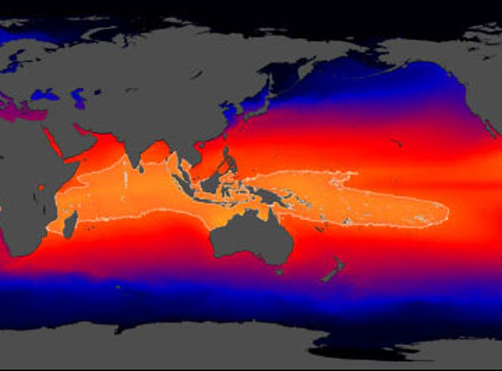 The Indo-Pacific Warm Pool, seen in orange, contains the warmest sea water in the world