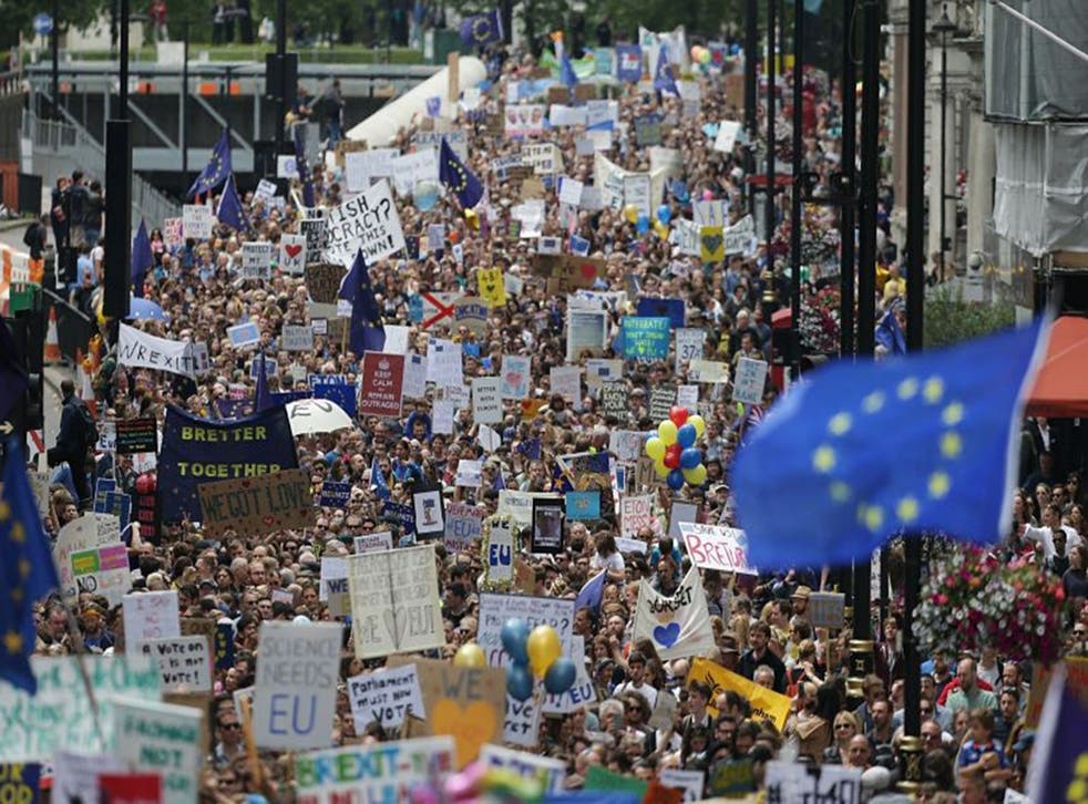 Remain supporters march towards Parliament Square on Saturday, 2 July, 2016