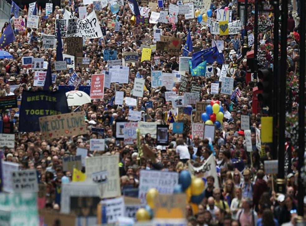 Pro-European Union protesters march in central London