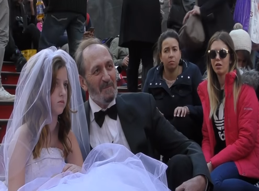 Passers-by are stunned by a social experiment stunt held in New York to highlight child marriage