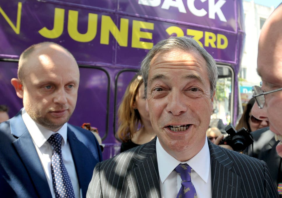 5cdfc6dfe175 Nigel Farage campaigning in Clacton-on-Sea in Essex for Brexit before the EU