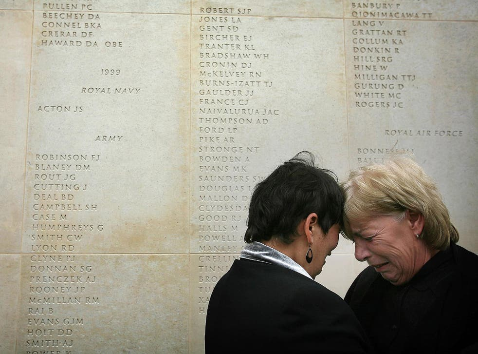 Mothers Theresa Evans (L) and Anne Lawrence meet for the first time and console each other after finding the names of their sons inscribed on the wall of the Armed Forces Memorial and discovering their sons had both died within 24 hours each other in Iraq, 12 October, 2007