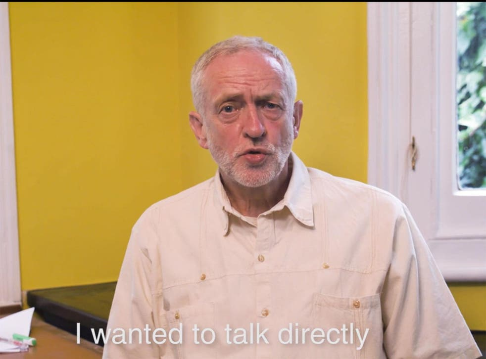 Jeremy Corbyn speaking to Labour Party members in a video today