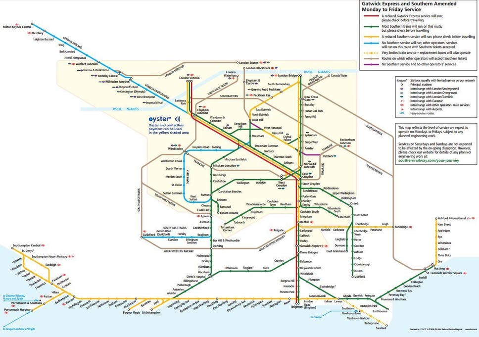 Southern Trains Map Southern Railway to cut 341 trains a day in revised timetable  Southern Trains Map