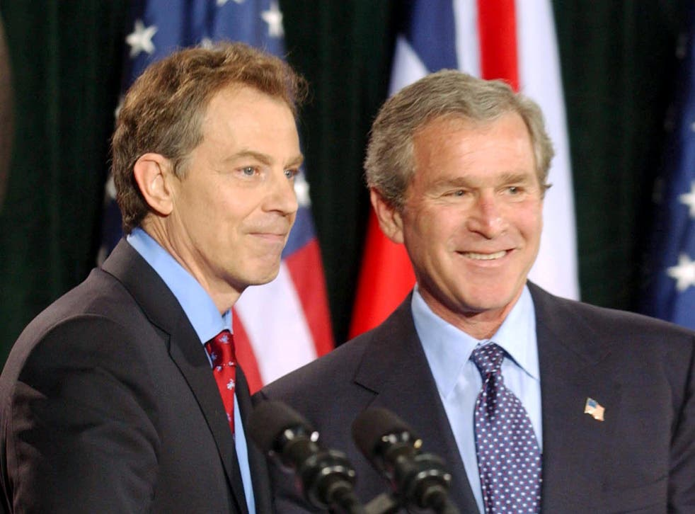 George Bush and Tony Blair during a press conference in Thurmont, Maryland in 2003