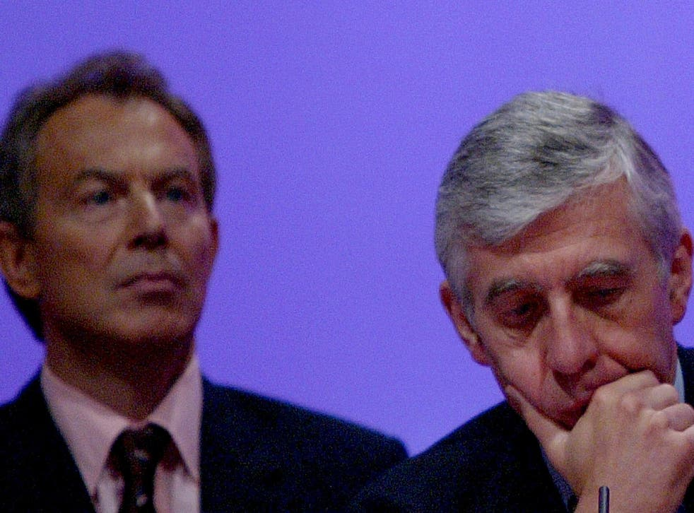Jack Straw, Britain's Foreign Secretary, is seen next to Britain's Prime Minister Tony Blair during the fifth and final day of the Labour Party Annual Conference on September 30, 2004 in Brighton