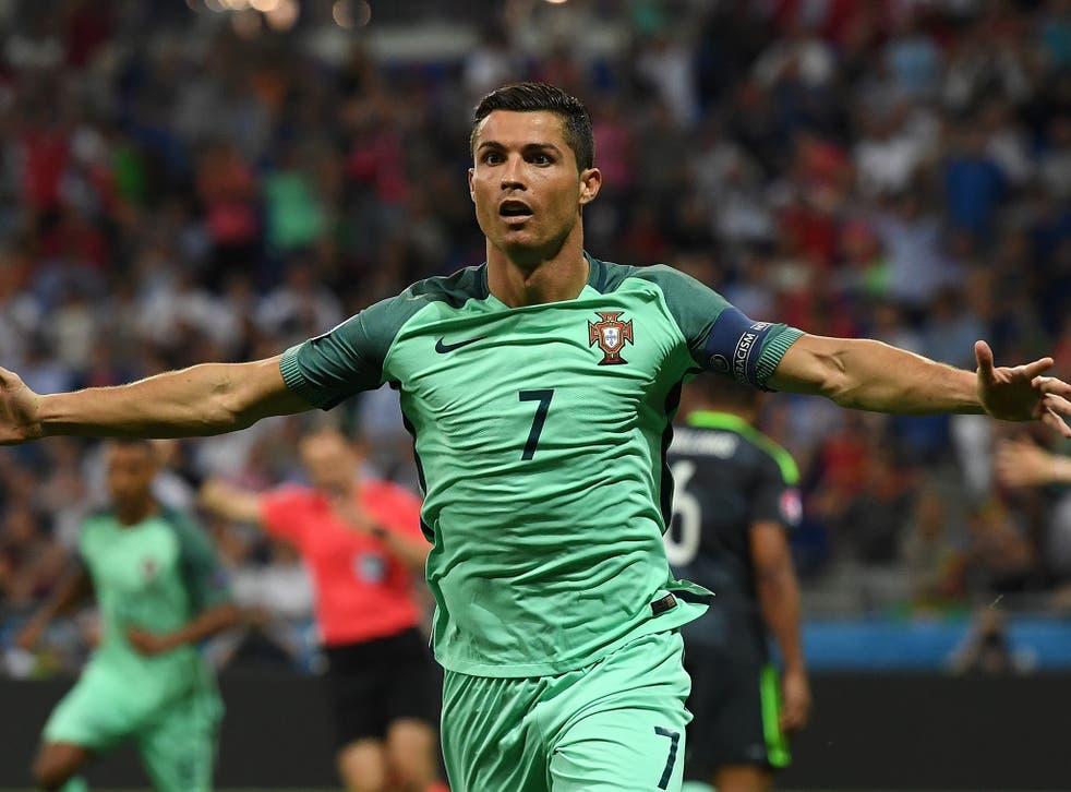 Ronaldo celebrates breaking the deadlock early on in the second half