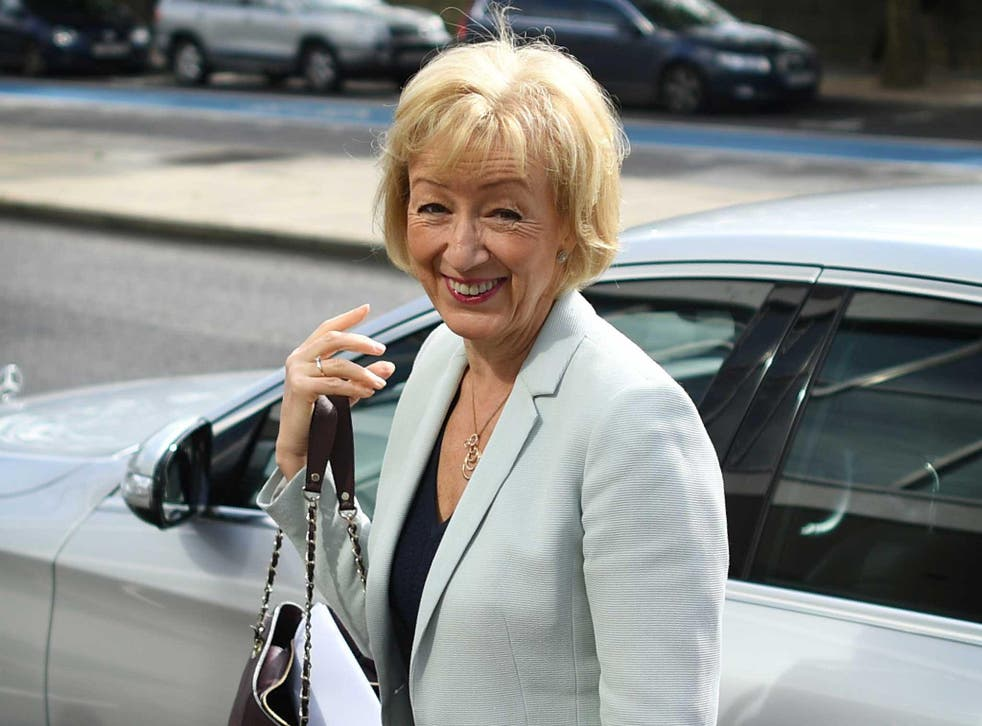 British Conservative Party leadership candidate Andrea Leadsom arrives to speaks during a leadership rally in central London