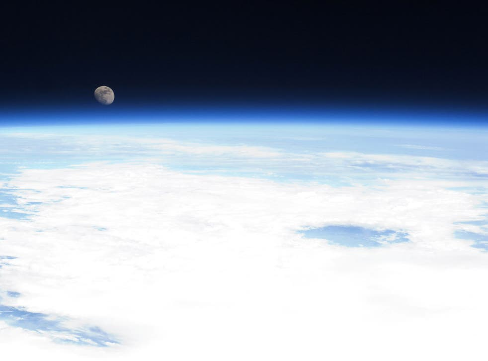The Earth's horizon and the moon seen from the International Space Station