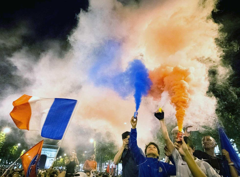 French football fans celebrate following Thursday's semi-final win against Germany