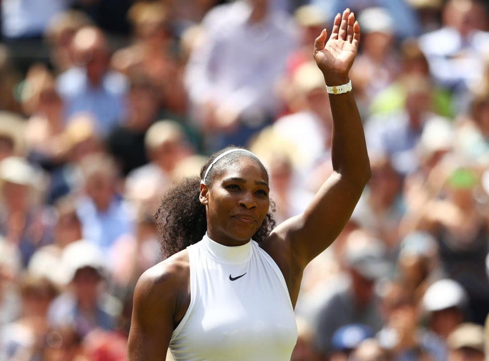Williams celebrating victory after winning her semi-final match against Elena Vesnina at Wimbledon